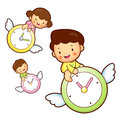 Boy and girl is riding a big watch flying in the sky education life character design series Royalty Free Stock Photos