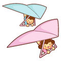 Boy and girl is riding a hang gliding in the sky education and life character design series Royalty Free Stock Image
