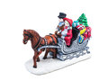 Boy and girl riding the Horsecar ,Christmas decoration ceramics, earthenware isolated on white background.. Royalty Free Stock Photo