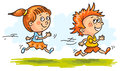 Boy and girl running quickly Royalty Free Stock Photo