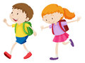 Boy and girl running to school Royalty Free Stock Photo