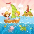 Boy and a girl are sailing on a sailboat by the sea. Royalty Free Stock Photo