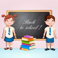 Boy and girl in school uniform back to illustration with Royalty Free Stock Photos