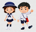 Boy and girl in school uniform Royalty Free Stock Photo
