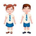 Boy and girl in school uniform isolated on white Royalty Free Stock Photo