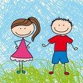 Boy and girl sketch Stock Image