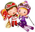 Boy and Girl skiing Royalty Free Stock Images