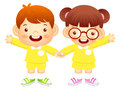 Boy and girl is standing affectionately press hands education a life character design series Royalty Free Stock Photos