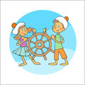 Boy and girl with steering wheel pair in sailor clothes revolve a ship Royalty Free Stock Photos