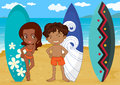 A boy and girl with surf pad illustration of on sea shore Stock Photography