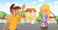A boy and a girl talking across the neighborhood illustration of Stock Photography