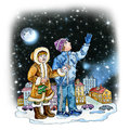 Boy and girl teenagers watching stars at winter night Stock Image