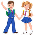 Boy and girl in uniform with school bags hold hands Royalty Free Stock Photo