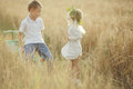 Boy and girl in wheat field Royalty Free Stock Photo