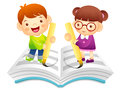 Boy and girl is writing on notebook with a large writing brush education life character design series Stock Image