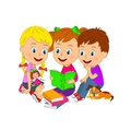 Boy and girls read book