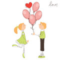 Boy give balloons to the girl Royalty Free Stock Photos