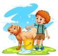 Boy giving dog a bath