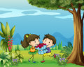 A boy giving a girl a bouquet of flowers illustration Royalty Free Stock Image