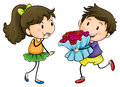 A boy giving his girlfriend a bouquet of flowers Royalty Free Stock Photo