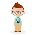 Boy with glasses and camera. Vector illustration eps 10 isolated on white background. Flat cartoon style.