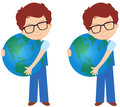 Boy in glasses with earth