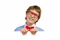Boy with glasses holding a white placard and bow tie Stock Photography