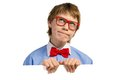 Boy with glasses holding a white placard and bow tie Stock Images