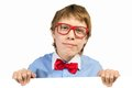 Boy with glasses holding a white placard and bow tie Stock Photos