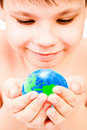 Boy and globe Royalty Free Stock Photos