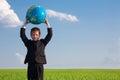 Boy with globe Royalty Free Stock Photo