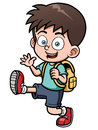 Boy go to school vector illustration of Royalty Free Stock Image