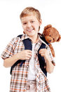 boy goes to school Stock Photography