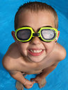 Boy with goggles Stock Images