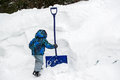 Boy grabbing a snow shovel in a deep snowbank young grabs beside during the winter season room for copy space Royalty Free Stock Photos