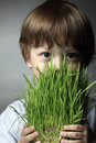 Boy with grass Royalty Free Stock Photo