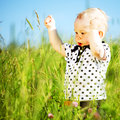 Boy in grass little play green Stock Photos