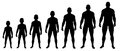 Boy growing up to Man silhouettes Royalty Free Stock Photo