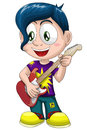 Boy guitar musician character cartoon style illustration cool young guitarist rock star vector done in on a white background Stock Images