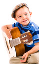 Boy and guitar the showman years old white background Royalty Free Stock Images