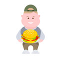 Boy with a hamburger illustration of on white background Stock Image