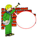 Boy with hammer and speech bubble comic book or cartoon style illustration of a holding a Royalty Free Stock Photography