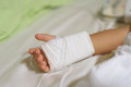 Boy hand with IV solution Royalty Free Stock Photo