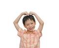 Boy hand making a heart shape