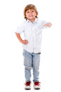 Boy with hand on something happy imaginary isolated over white background Royalty Free Stock Photography
