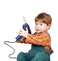 Boy with hand-tool. Royalty Free Stock Images