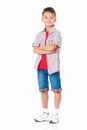 Boy with hands folded little isolated on white background Stock Images
