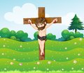 A boy hanging on the cross illustration of Stock Photography