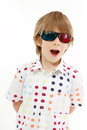 Boy happy with d glasses isolated on white background Royalty Free Stock Photography