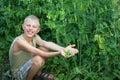 Boy Harvested Peas